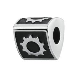 Charm TJ MAN in acciaio e smalto nero con ingranaggio